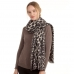 CS0150 Soft Texture Leopard Pattern Scarf, Black