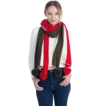 CS0152 Solid Tri-tone Winter Scarf W/Pom-Pom, Red