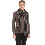 CS0153 Solid W/Leopard Pattern Accent Scarf, Black