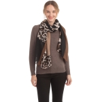 CS0153 Solid W/Leopard Pattern Accent Scarf, Brown