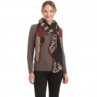 CS0153 Solid W/Leopard Pattern Accent Scarf, Burgundy