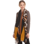 CS0153 Solid W/Leopard Pattern Accent Scarf, Mustard