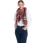 CS0154 Simple Plaid Solid Color Scarf, Burgundy