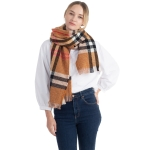 CS0154 Simple Plaid Solid Color Scarf, Camel