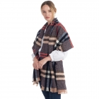 CS0154 Simple Plaid Solid Color Scarf, Navy