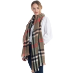 CS0154 Simple Plaid Solid Color Scarf, Olive