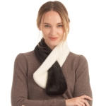 CS0158 Two Tones Slit Scarf, Black