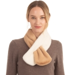 CS0158 Two Tones Slit Scarf, Camel