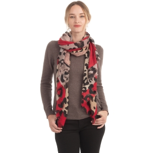 CS0159 Solid & Leopard Pattern Scarf, Burgundy