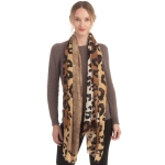 CS0159 Solid & Leopard Pattern Scarf, Taupe