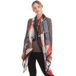 CS0162 Abstract Pattern Sheer Silky Scarf, Black