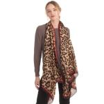 CS0164 Sheer Silky Leopard Printed Scarf