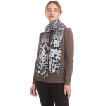 CS0165 Multi Animal Pattern Ruffle Scarf, Black