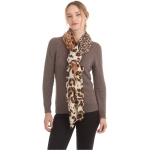 CS0165 Multi Animal Pattern Ruffle Scarf, Yellow