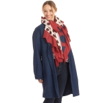 CS0166 Two Tones Polka-dot Ruffle Scarf, Burgundy