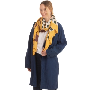 CS0166 Two Tones Polka-dot Ruffle Scarf, Mustard