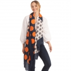 CS0166 Two Tones Polka-dot Ruffle Scarf, Navy