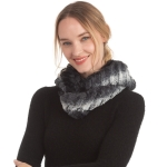 CS0167 Dual Color Faux Fur Infinity Scarf, Black
