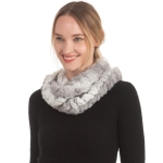 CS0167 Dual Color Faux Fur Infinity Scarf, Grey