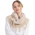 CS0168 Faux Fur Accent Edge infinity Fringes Scarf, Begie
