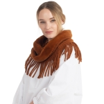 CS0168 Faux Fur Accent Edge infinity Fringes Scarf, Brown