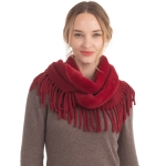 CS0168 Faux Fur Accent Edge infinity Fringes Scarf, Burgundy