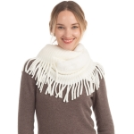 CS0168 Faux Fur Accent Edge infinity Fringes Scarf, Ivory