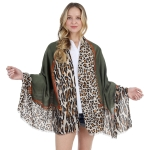 CS1008 Solid& Leopard Pattern Scarf, Olive