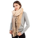 CS1105 Chevron Pattern & Ombre Color with Tassels Scarf, Beige