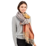 CS1105 Chevron Pattern & Ombre Color with Tassels Scarf, Blue