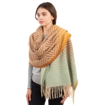 CS1105 Chevron Pattern & Ombre Color with Tassels Scarf, Brown