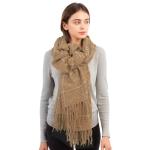 CS1109 Glitter Checker Pattern with Tassels Scarf, Taupe