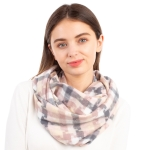 CS1110 Multi-color Plaid & Houndtoot Pattern Infinity Scarf, Pink