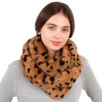 CS1113 Leopard Pattern Short Faux Fur Infinity, Camel