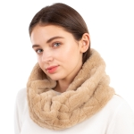 CS1114 Chevron Pattern Solid Faux Fur Infinity, Taupe
