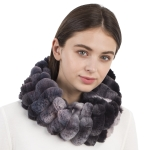 CS1115 Multi Tie-dye Pattern Faux Fur Stripes Infinity, Black
