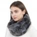 CS1116 Multi Tie-dye Pattern Faux fur Long Infinity Scarf, Black