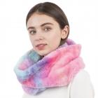 CS1116 Multi Tie-dye Pattern Faux fur Long Infinity Scarf, Multi