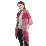 CS1118 Color Faded Blocks Pattern Scarf, H.Pink
