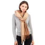 CS1132 Double Size Two Tone Winter Scarf, Taupe