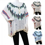 CS113 Feather Pattern Spring Poncho