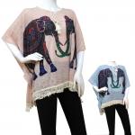 CS115 Elephant Pattern Spring Poncho