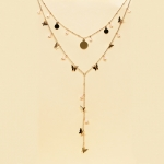 CS-1348 Little Butterfly and Pearl Charm Double Layered Necklace, PKAB