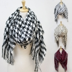 CS2508 Houndstooth Scarf  with Fringe
