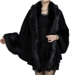CS2543 Faux Fur-Trimmed Shawl Vest