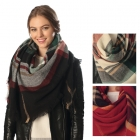 CS6018 PLAID SQUARE SCARF