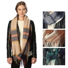 CS6020 Plaid Infinity Scarf with Fringes