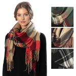 CS6039 Plaid Scarf with Fringes