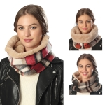 CS6043 PLAID INFINITY SCARF WITH FAUX FUR LINING