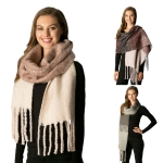 CS6047 Gradation Pattern Fringed Scarf